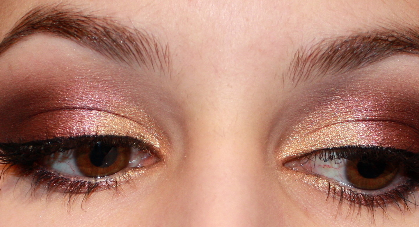 Gold and purple eyeshadow