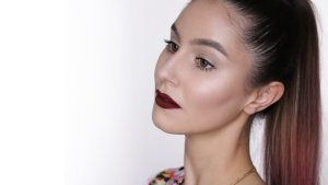 Clean Glossy Skin & Dark Red Lip Makeup Tutorial